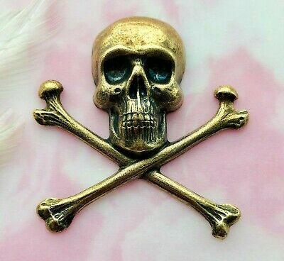 ANTIQUE BRASS Extra Large Gothic SKULL & BONES Stamping Oxidized Finding (C-501)