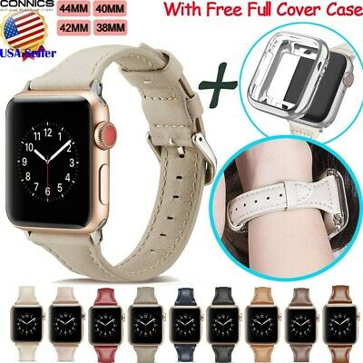 For Apple Watch Series 4 5 40/44mm Luxury Leather iWatch Band Strap With Case US