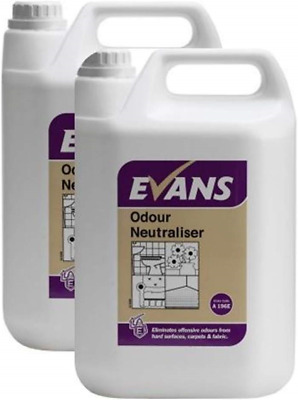 2 x Evans Vanodine Ready To Use Perfumed Odour Neutraliser Air Freshener 5ltr