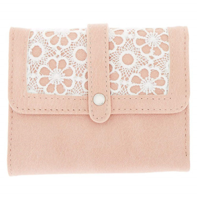 Claire's Girl's Trifold Crochet Wallet - Pink