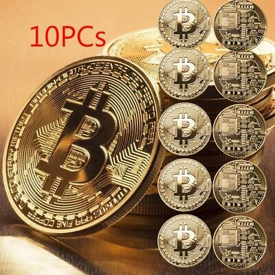 10Pcs Gold Bitcoin Commemorative Collectors Coin With Protective Acrylic Case yu