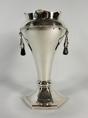 Antique Australian Arts & Crafts Saunders Silver Plated Vase Bakelite Handles