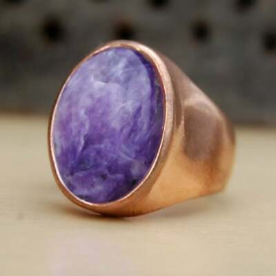 Solid 925 Sterling Silver Charoite Rose Gold Mens Unisex Ring Signet Ring S43