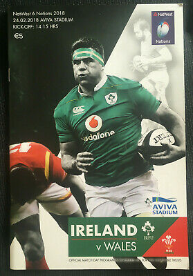 IRELAND GRAND SLAM YEAR v Wales 2018 Six Nations RUGBY Programme.