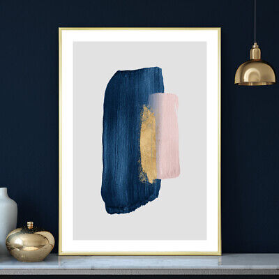Blue Gold Pink Wall Art Watercolour Home / Bedroom Painting Print Poster A4 - A1