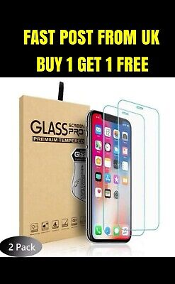 iPhone 11 PRO MAX XR X XS MAX 8 Screen Protector Tempered Glass and  Clear Case