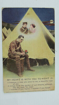 WW1 Bamforth Song Postcard MY HEART IS WITH YOU TONIGHT Tommy Army Camp 4810/3