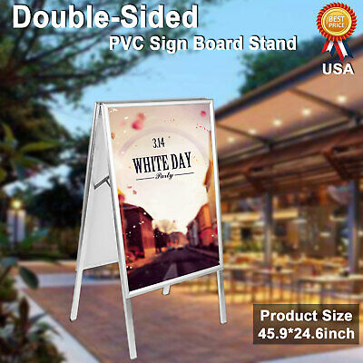 Double Side Sidewalk Pavement A Frame PVC Sandwich Board Dryerase Menu Sign NEW