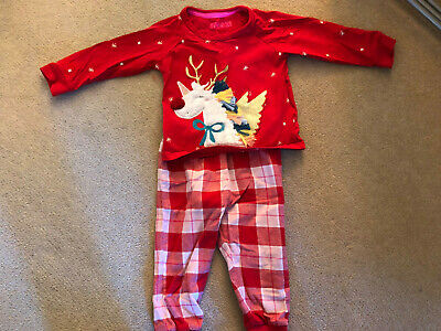 Marks & Spencer M&S Red Reindeer /Unicorn Christmas Pyjamas Age 12-18 Months