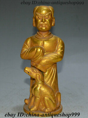 """8"""" Ancient China Dynasty Palace Old Bronze Gold People God Deer Immortal Statue"""