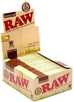 50 Packs Raw Organic Hemp King Size Slim Natural Unrefined Rolling Papers