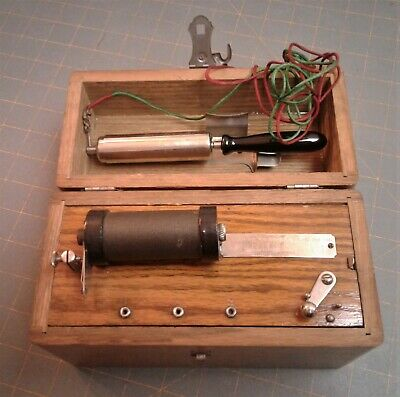 Antique Home Electric Shock Machine Quack Medical Marvel Cure Box Oak Case