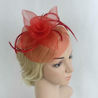 Flower Mesh Feather Fascinator Hat Hairpin Weddings Races Prom Ladies Day Veil