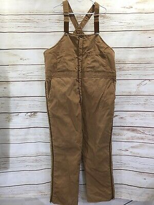 Walls Blizzard Pruf Insulated Mens Bibs 2XL Tall Brown USA Canvas Duck Overalls