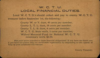 WCTU prohibition abstinence anti-tobacco Women's Suffrage ~ Private Mailing Card