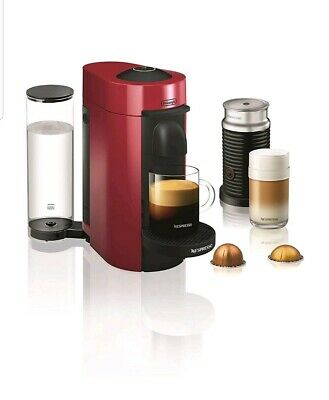 Nespresso VertuoPlus Espresso Maker Bundle with Milk Frother by De'Longhi, Red