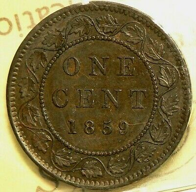 1859 Canada Large Cent ICCS DP N9 Variation AU50 #5201