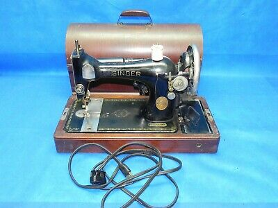 Vintage 1937 Singer Model 128 Sewing Machine w/ Bentwood Case, Knee Control