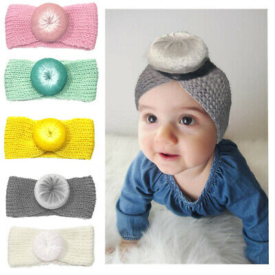 LN_ Newborn Baby Girls Headwear Donut Headband Knitted Elastic Hair Band Splen