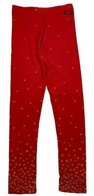 Matilda Jane Girls Make Believe Light Me Up Leggings Size 14 Red W Gold Stars