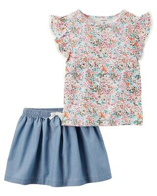 Carter's Little Girls' 2 Piece Floral Top and Chambray Skirt Set, 2 Toddler