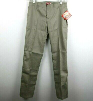 Dickies Girl Womens Juniors Pants Pockets Solid Flare Beige Khaki Size 9 NWT