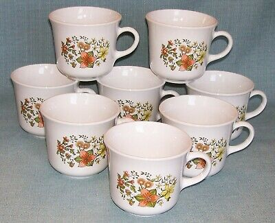 Vtg CORELLE Corning INDIAN SUMMER Cups Mugs -Set 8- Floral Orange Yellow VGVC