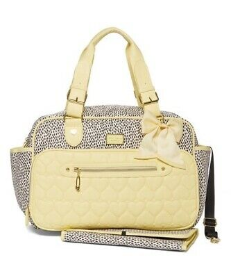 Betsey Johnson Diaper Bag Quilted Hearts Tote Weekender Travel Baby Changing Pad