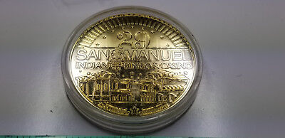 2015 San Manuel Indian Bingo & Casino Goldtone 29th Anniversary Collectible Coin