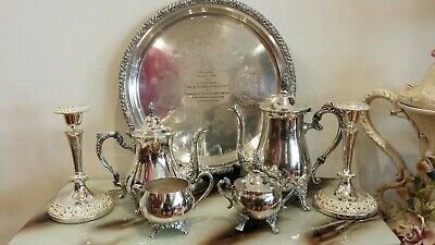 Mix of Vintage silver plated tea set/tray / candle holders( 7 items )