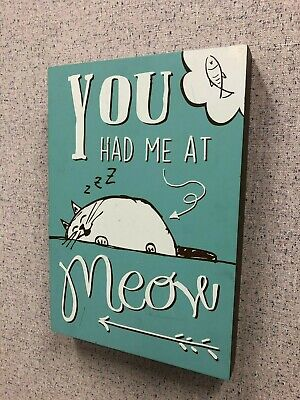 You Had Me At Meow Wall Plaque Cat Lover Teal Blue Green Picture Hanging Decor