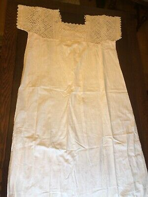 Antique 1800's Edwardian Ivory Cotton Chemise Night Gown Hand Made Crochet Lace