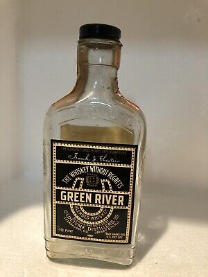 Vintage  1/2 Pt Green River Whiskey Bottle