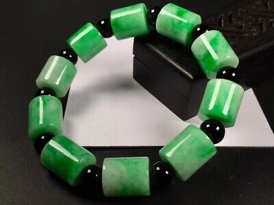 Natural Certified A Sun Green Jadeite Jade 路路通 Beads Bracelet Bangle 0330