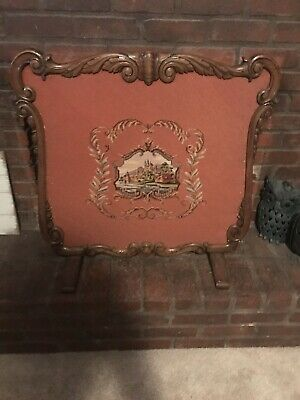 Antique Hand Carved Walnut Needlepoint Fireplace Screen Early 20th Century