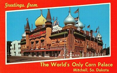 Greetings from The World's Only Corn Palace, Mitchell South Dakota Postcard A50