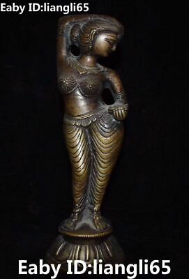 Old Chinese Pure Bronze Ancient Stand Beauty Belle Woman Girl Lady God