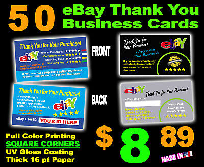 QTY=50 EBAY THANK YOU CARDS | Full Color | ELEGANT | TWO SIDED | ROUND CORNERS!