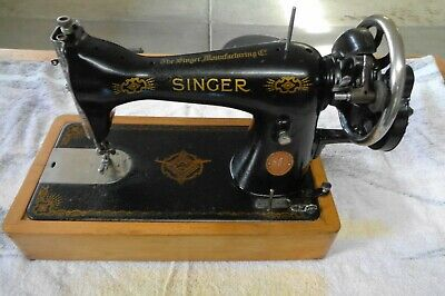 "Antique"" RAF Decaled"" Singer 15K Hand Crank Sewing Machine GOOD 1945"