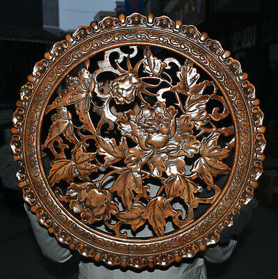 """22"""" Old Chinese Huang Huali Wood Flower Folding Screen Wall Hanging Plate Statue"""