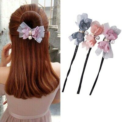 Flower Girls Bow DIY Hair Style Headbands Hair Accessories Donut Bun Maker