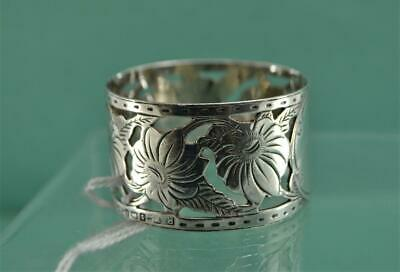 Antique sterling silver pierced Art Nouveau Napkin ring R & W Birmingham 1905