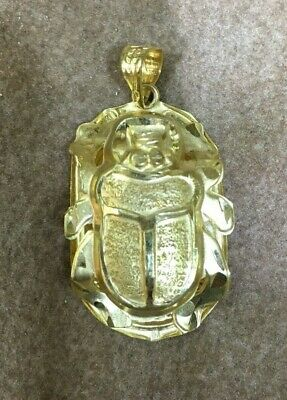 Egyptian Scarab Gold 18K Stamped Yellow Gold Pendant (5.2g)