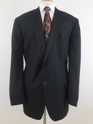TOM JAMES Wool 2 Button Blazer Sport Coat Jacket 46L Navy Windowpane Plaid