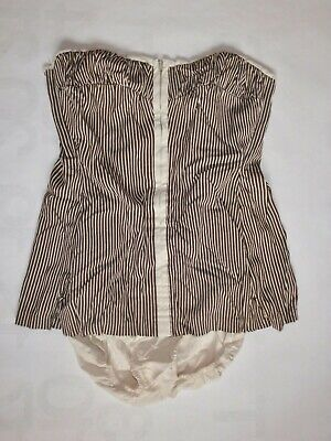 Vintage Gantner women's 40 brown striped strapless zip up swimsuit