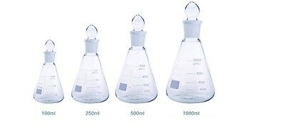 Discounted Borosilicate Conical Flask + Grounded Glass Stopper Sets Boro 3.3