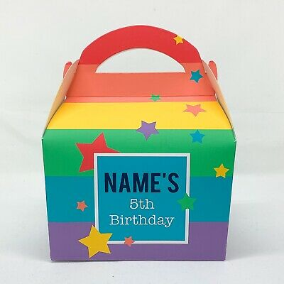 Rainbow Children's Personalised Party Boxes Favours Gift Bags 1ST CLASS POST