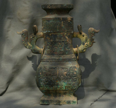 "20"" Chinese dynasty Old antique Bronze Ware Vessel Wine Beast Handle Pot Bottle"