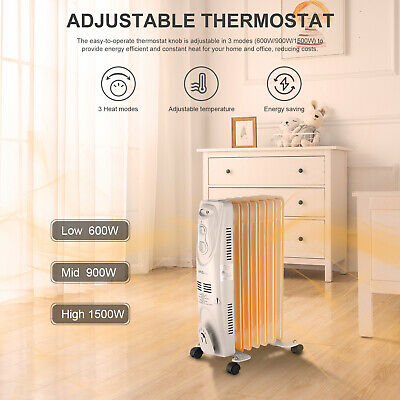 Oil Filled Radiator Heater, Electric Space Heater, Portable, 1500W-LIVINGbasics™
