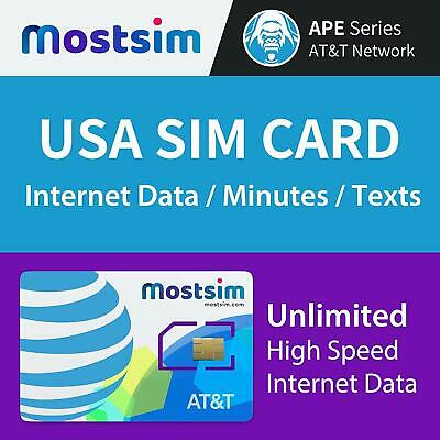 MOST SIM - AT&T USA SIM Card 15 Days, Unlimited High Speed Data/Calls/Texts,